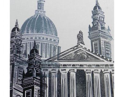 St Paul's Lino Cut experiment