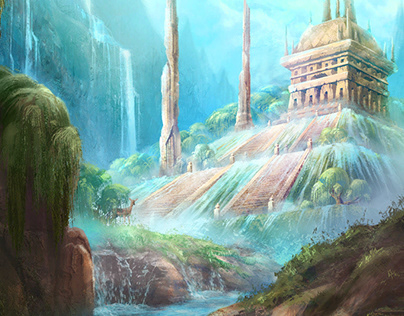 Lost temple environmental concept art