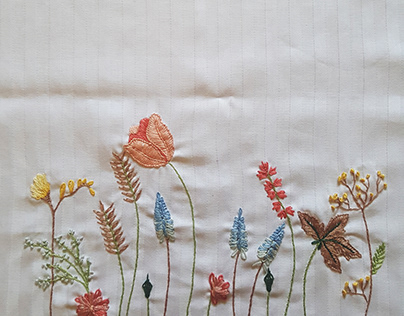 Embroidered Surfaces on Waste Fabric