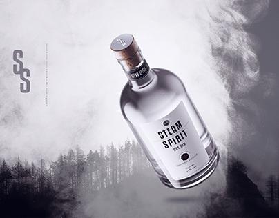 """""""Steam Spirit"""" gin label. Handcrafted gin."""