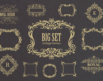 Set of vintage frames and monograms. Vector.