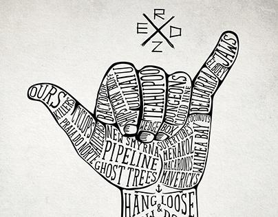 Hand drawing t-shirt design for REDZ SURFBOARDS