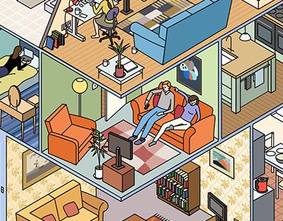 Isometric illustrations of home interiors