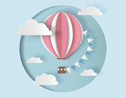 Hot air balloon in paper cut style