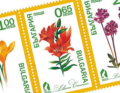 Дизайн проект почтовые марки флора