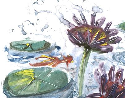 Colour print making - The pond