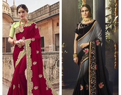 5 Embroidered sarees to rock this wedding season.
