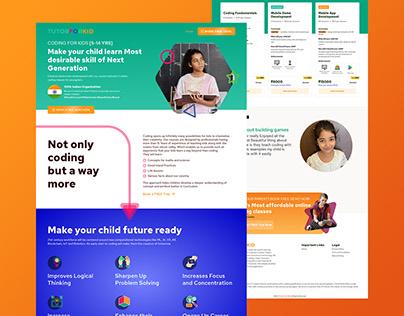 TutorForKID - E learning Website Landing Page concept