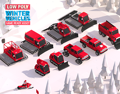 Cartoon Low Poly Winter Vehicles 3d Asset