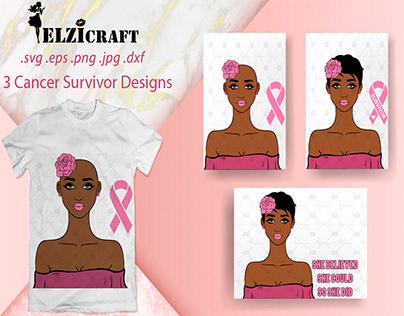 3 Cancer Survivor Designs / SVG Cut Files