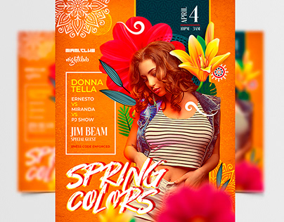 Spring Colors Party – Premium PSD Flyer Template