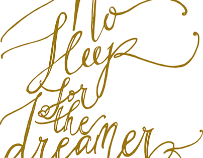 """calligraphy """"No sleep for the dreamer"""""""