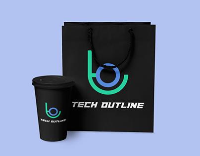 Logo Design | Tech Outline | Cup & Bag Mockup