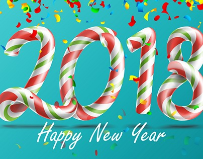 2018 Happy New Year Vector. 3D Number Sign In Christmas