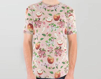 Watercolor apple flowers pattern - textile design