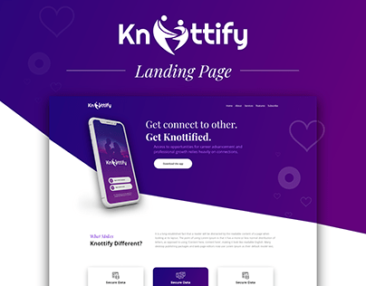Landing Page Design for Knottify