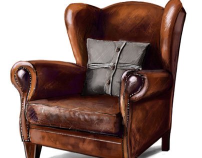 Скетч кожаного кресла в Procreate