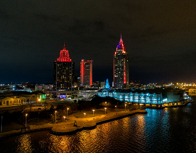 Downtown Mobile at night in 2021