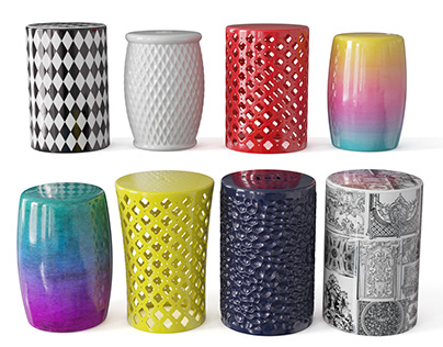 Ceramic garden stool collection