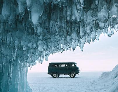 Epic frozen lake Baikal, Russia