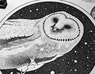 Custom dotwotk tattoo design - Owl