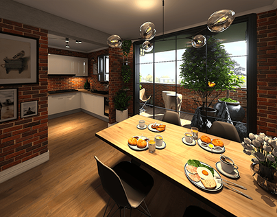 Industrial Lounge & Dining Room