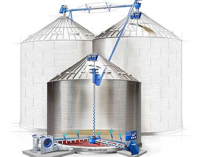 Grain silo, technical illustration.