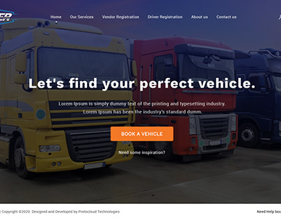 Web Mockup Design to Find Perfect Vehicle for Trucker