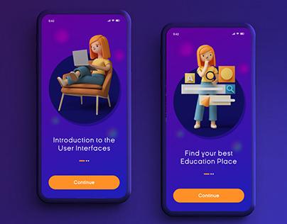 3D Onboarding App Screen Concept