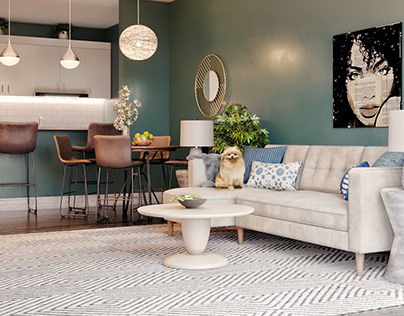 Living Room with Dining Area Project: Moody Blue
