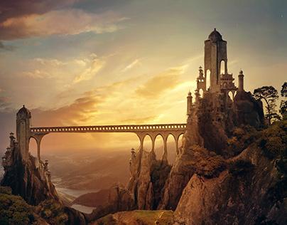 Matte painting. Castles