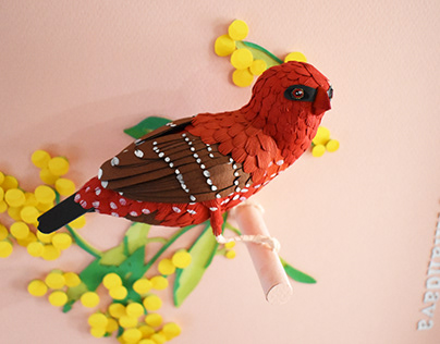 Red avadavat - Paper Bird 3D