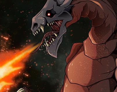 Skull Dragon Illustrationn