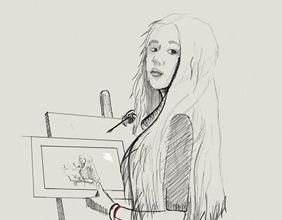 Sketch Gril Satine