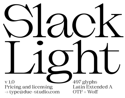 Slack Light Typeface