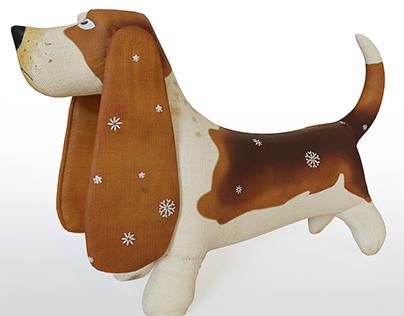 3d model basset dog fabric toy