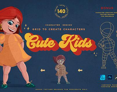 Cute Kids Grids for Procreate