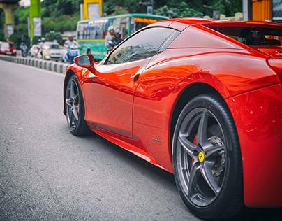 Ferrari in the streets of Bangalore