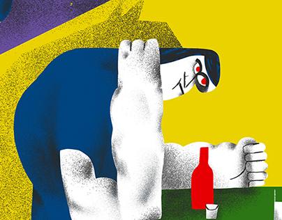Domestic violence set of illustration