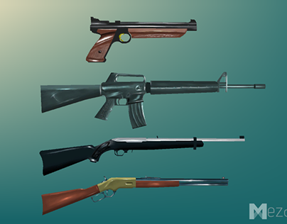 Hand Painted, Low poly, Weapons, American