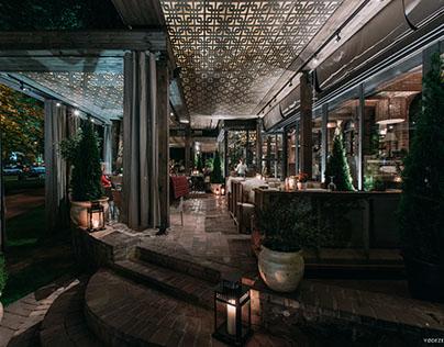Summer terrace of the restaurant Kuvshyn in Kiev