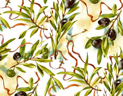 Olives watercolor pattern