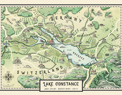 Illustrated Map of Lake Constance