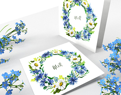 Watercolor Meadow Wedding Invitation