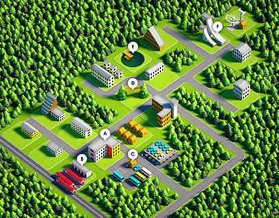 3D Map of Holiday Resort - Hotel Crocus