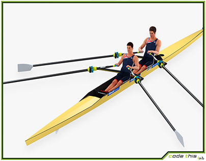 3D Model: 3D Rowing Double Sculls Animated HQ
