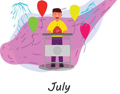 Illustration of birthday calendar