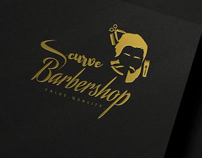 S-curve Barbershop Logo Branding