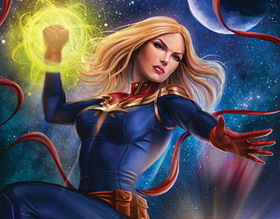 Captain Marvel Cover prompt