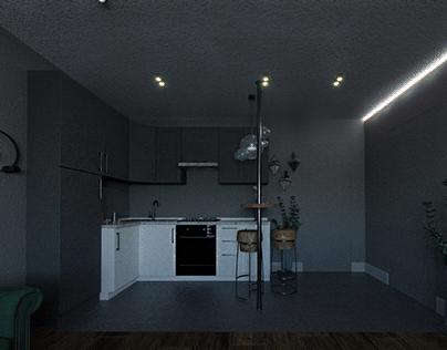Кухня-студия, kitchen hall